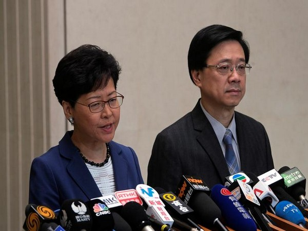 Hong Kong leader Carrie Lam addressing a press conference last month (file photo)