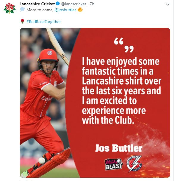 Excited to experience more time with Lancashire club: Jos Buttler