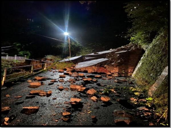 Landslide near Home Guard office in Shimla on Thursday night (Photo/ANI)