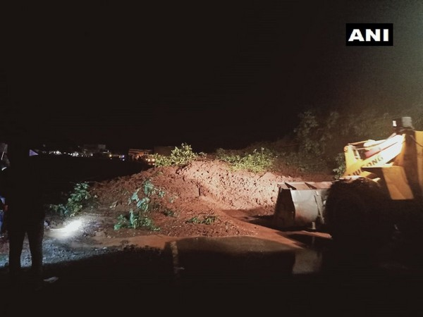 Visual of landslide at Mumbai-Goa national highway in Maharashtra.