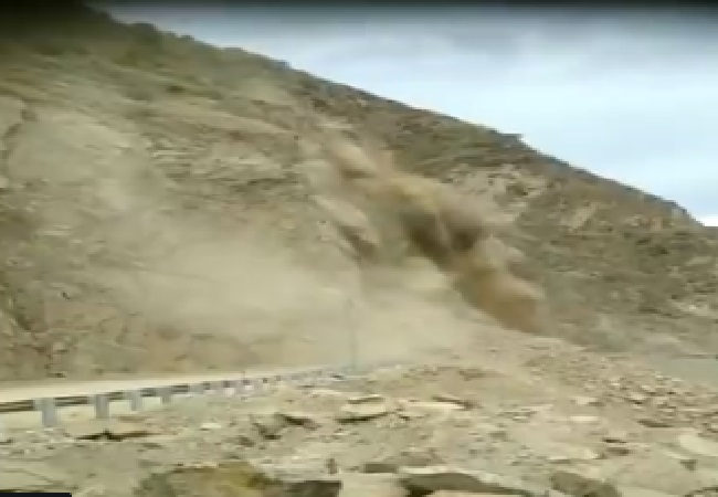 A landslide in Luhri-Anni section of National Highway 305 in Himachal Pradesh