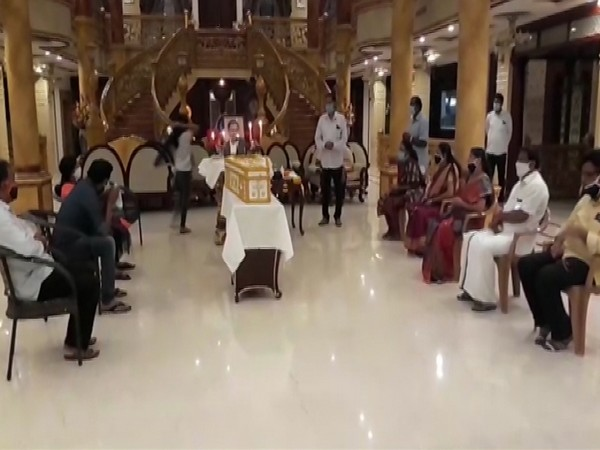 A visual from the last rites ceremony at Mananthavady church in Kerala on Friday. Photo/ANI