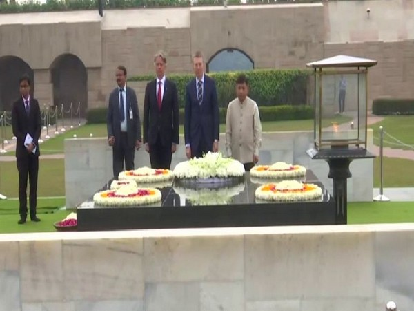Latvian Foreign Minister Edgars Rinkevics pays floral tributes to Mahatma Gandhi on Monday
