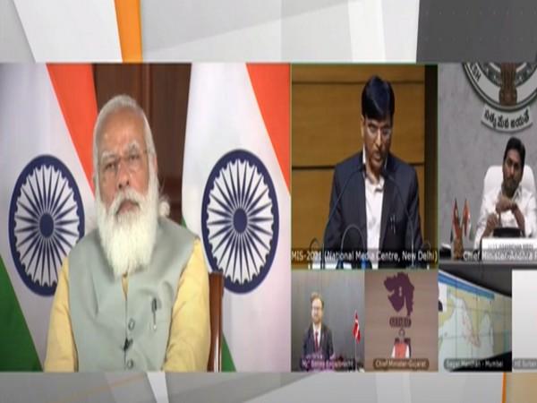 Prime Minister Narendra Modi, Union Minister Mansukh Mandaviya during the launch of MIS 2021. (Photo/ANI)