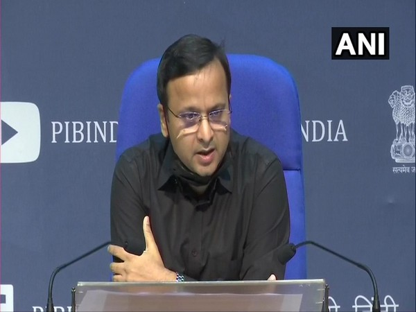 Lav Aggarwal, Joint Secretary, Ministry of Health and Family Welfare, briefing media about COVID-19 status in the country in New Delhi on Sunday. Photo/ANI