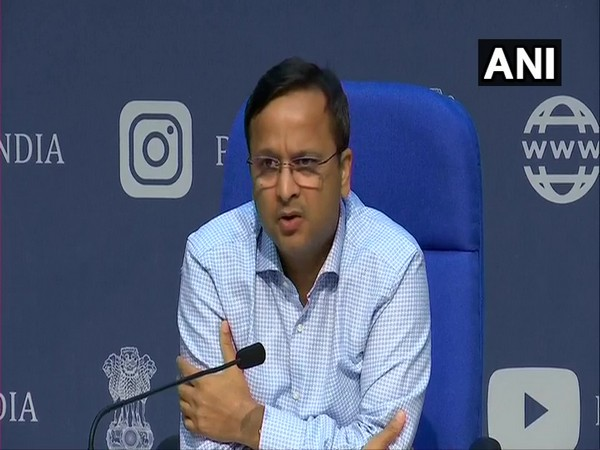 Lav Aggarwal, Joint Secretary, Ministry of Health and Family Welfare, briefing media about the COVID-19 status in the country on Tuesday. Photo/ANI