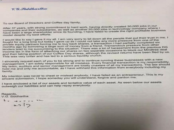 Letter written by CCD founder-owner V G Siddhartha to stakeholders. Photo/ANI