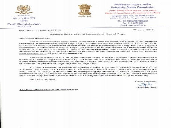 A letter written by UGC to Universities to conduct Yoga on International Day of Yoga