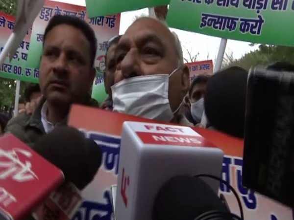 Former Haryana Chief Minister Bhupinder Hooda speaking to media during the march