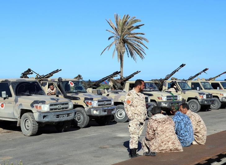 Military vehicles of Misrata forces, under the protection of Tripoli's forces, in Tripoli (Libya) Apr 6 (Image source: Reuters)