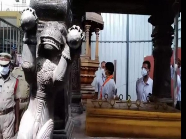 BJP state president Somu Veerraju visited the Kanaka Durga Temple amid reports of three missing silver lion statues from the silver chariot. (Photo/ANI)