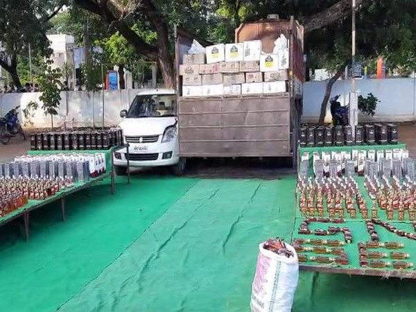 Illegal liquor worth over Rs 13 lakhs seized by Andhra Pradesh Police [Photo/ANI]