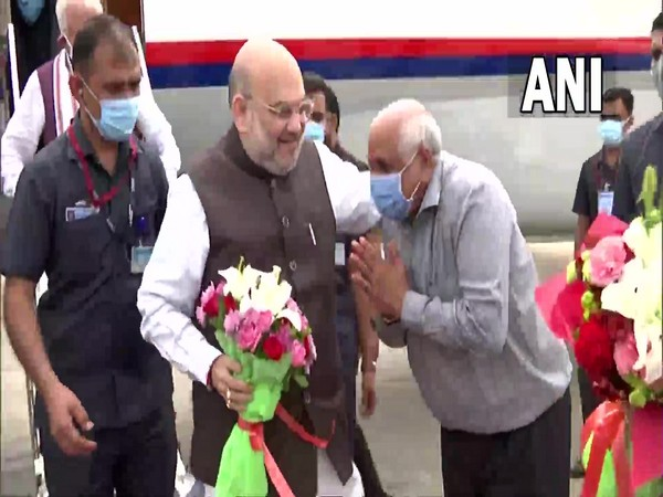 Union Home Minister Amit Shah arrives at Ahmedabad airport. (Photo/ANI)