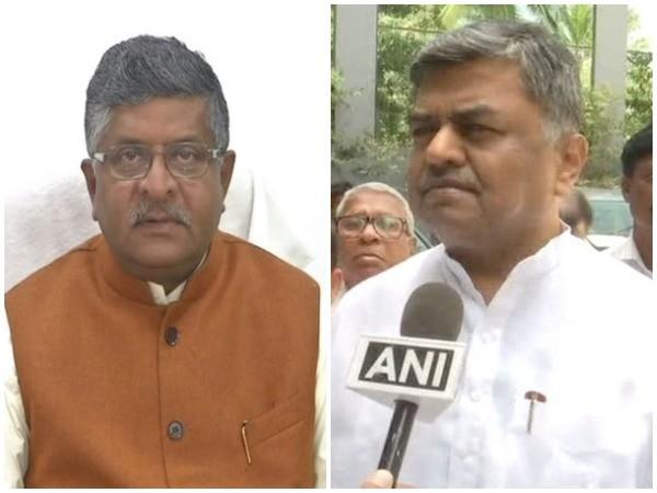 Union Minister Ravi Shankar Prasad (left) and Congress leader BK Hariprasad (right) [Photo/ANI]