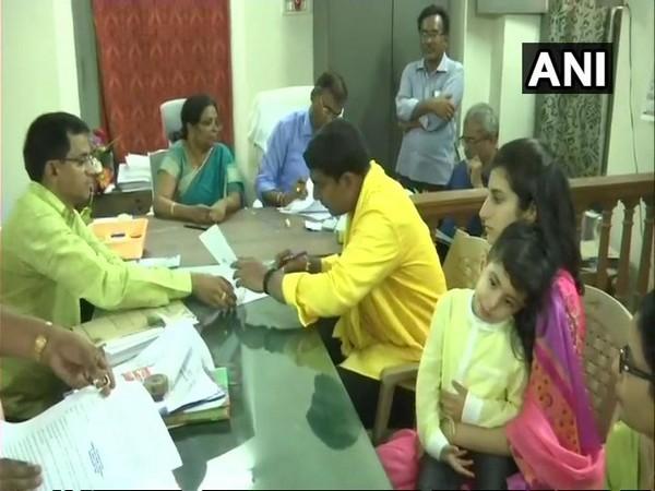 Andhra Pradesh IT minister Nara Lokesh while filing nomination at Mangalagiri MRO office on Friday. Photo: ANI