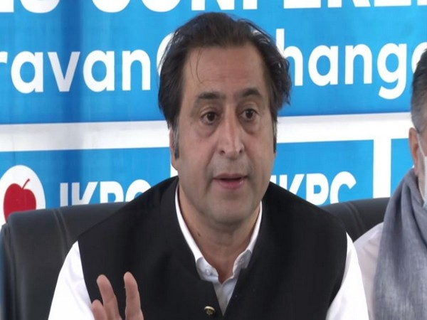People's Conference Chairman Sajjad Lone speaking to reporters in Srinagar on Thursday. (Photo/ANI)