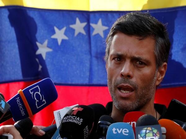 Venezuela opposition leader Leopoldo Lopez speaks to reporters outside Spanish ambassador's residence in Caracas on Wednesday