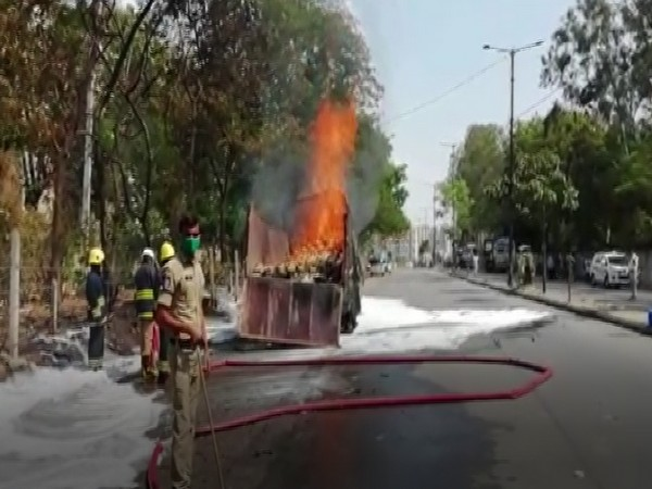 The lorry caught the fire near Miyapur bus station in Hyderabad. Photo/ANI