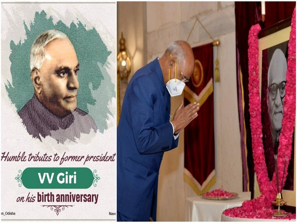 President Ram Nath Kovind and Odisha Chief Minister Naveen Patnaik paind tribute to former President VV Giri on his birth anniversary on Monday. (Photos: Twitter)