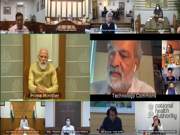 Prime Minister Narendra Modi interacting with tech experts, bureaucrats