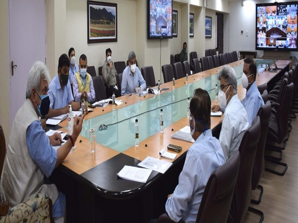 Visual of the meeting chaired by Jammu and Kashmir Lieutenant Governor, Manoj Sinha (Photo/Twitter)
