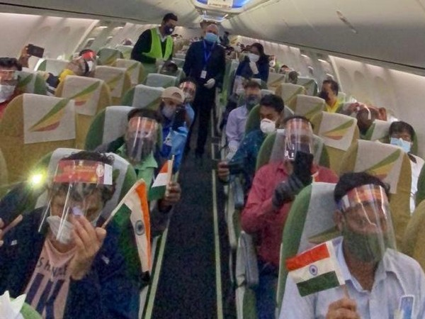 Indian ambassador Abhay Kumar along with Indian nationals on a special chartered flight bound for India