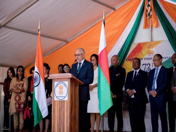Foreign Minister of Madagascar Naina Andriantsitohaina speaking during the celebrations of 73rd Independence Day of India on Thursday.