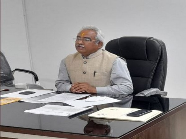 Uttarakhand Minister of Urban Development and Housing Madan Kaushik during the videoconferencing on Friday. (Photo/ANI)