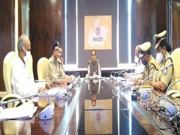 Chief Minister Shivraj Singh Chouhan during meeting with police offcials and district officials. (Photo/ANI)