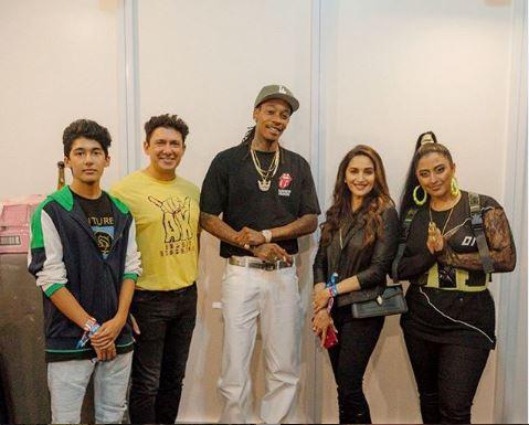 Madhuri Dixit Nene along with husband Dr Shriran Mene posing with rapper Wiz Khalifa and Raja Kumari (Image courtesy: Instagram)