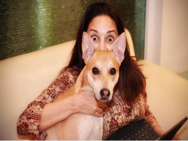 Madhuri Dixit Nene with her dog (Image Source: Instagram)