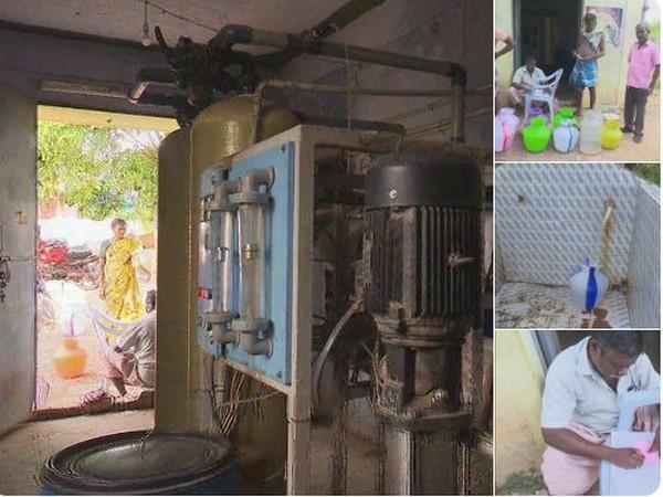 Iravathanallur village residents taking RO water. Photo/(ANI)
