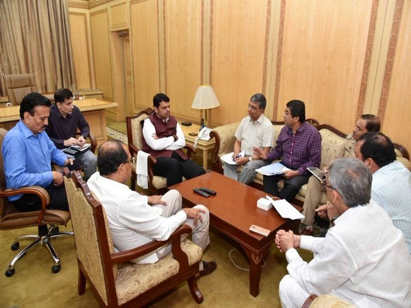 Chief Minister Devendra Fadnavis meeting with officials in Mumbai on Wednesday.