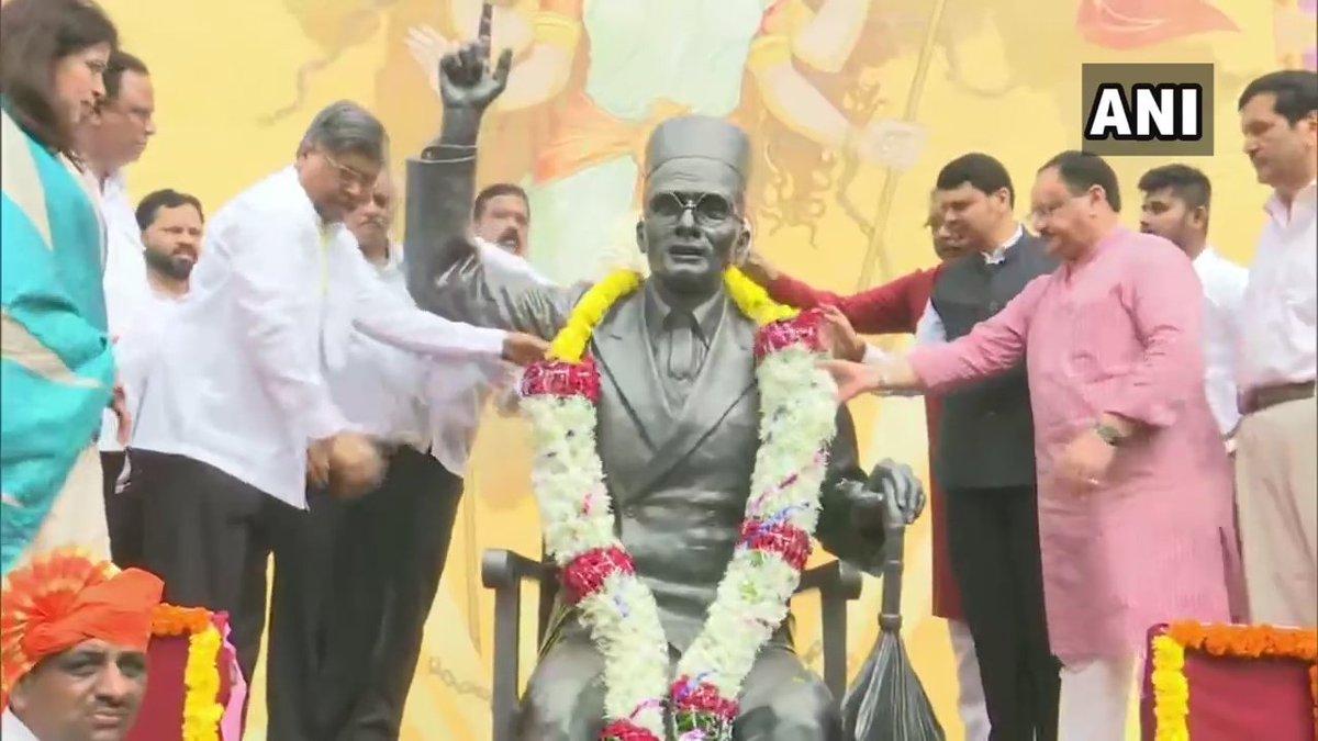 Maharashtra Chief Minister Devendra Fadnavis along with other BJP leaders at the Veer Savarkar Memorial in Mumbai. Photo/ANI