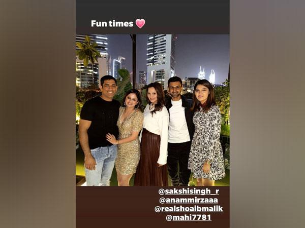 MS Dhoni, Sakshi, Sania Mirza, Shoaib Malik (Photo/ Sania Mirza Instagram)