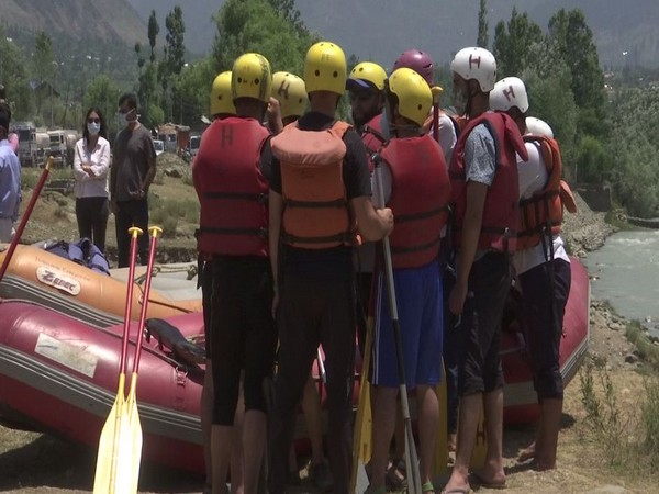 Participants getting prepared for white water rafting in J-K. (Photo/ANI)