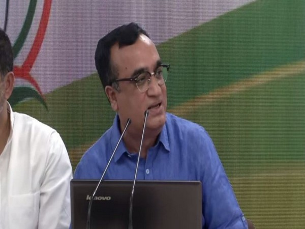 Congress spokesperson Ajay Maken speaking to media persons in New Delhi on Wednesday. Photo/ANI