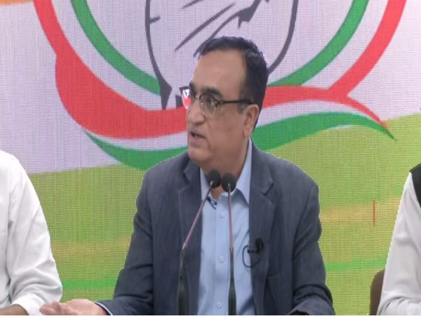 Congress leader Ajay Maken speaking to reporters in New Delhi on Friday. Photo/ANI