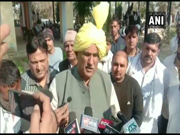 Haryana MLA Sombir Sangwan speaking to media on Monday. (Photo/ANI)
