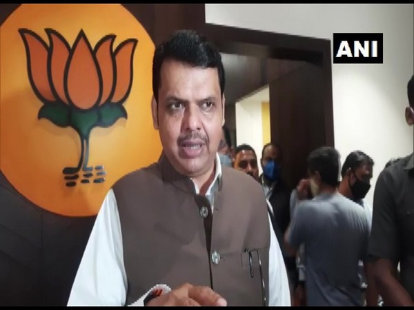 BJP leader and former Maharashtra Chief Minister Devendra Fadnavis speaking to reporters in Pune on Sunday. (Photo/ANI)