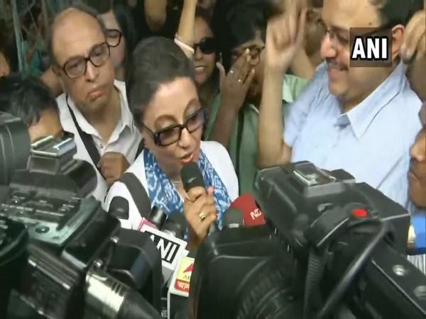 Filmmaker Aparna Sen speaking to reporters after meeting doctors on strike in Kolkata.