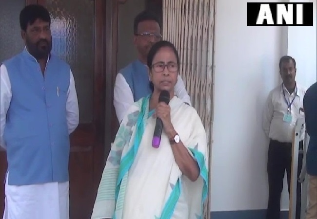 West Bengal Chief Minister Mamata Banerjee speaking at a press conference in Murshidabad on Thursday.
