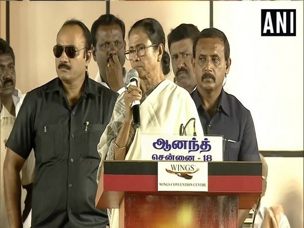 Mamata Banerjee speaking at an event in Chennai on Wednesday