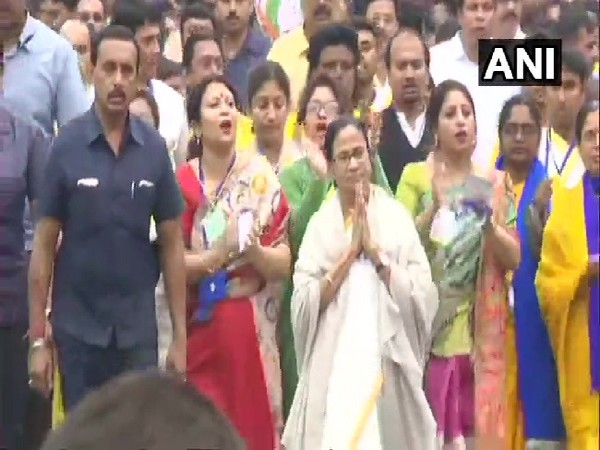 West Bengal Chief Minister Mamata Banerjee at a protest march in North 24 Parganas on Thursday.