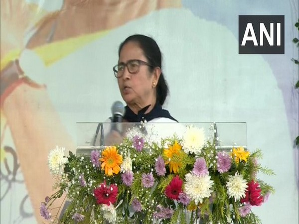 West Bengal Chief Minister Mamata Banerjee addresses the public meeting in Bankura on Wednesday. (Photo/ANI)