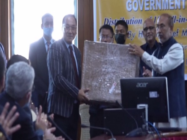 Manipur Chief Minister N Biren Singh distributes 186 desktop computer sets to different departments (Photo/ ANI)