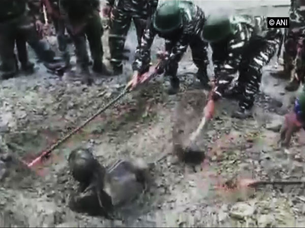 Man trapped overnight in landslide rescued by CRPF in Jammu and Kashmir [Photo/ANI]