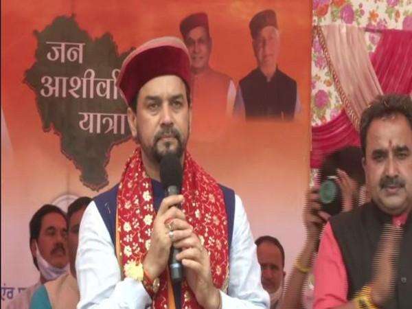 Union Minister Anurag Singh Thakur in Galog, Himachal Pradesh. (Photo/ANI)