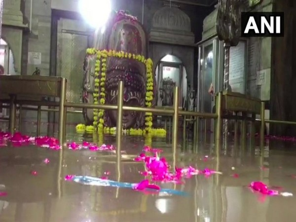 Visuals from the Pashupatinath Temple with Shivna river water inside on Tuesday in Mandsaur in Madhya Pradesh. Photo/ANI