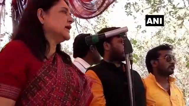 Union Minister Maneka Gandhi addressing a public gathering at Sultanpur in Uttar Pradesh on Wednesday.
